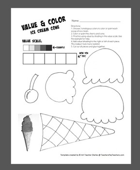 photograph relating to Ice Cream Template Printable called Ice Product Cone Price tag and Shade Artwork Task Printable Template Sub Lesson Program