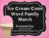 Ice Cream Cone Word Family Match