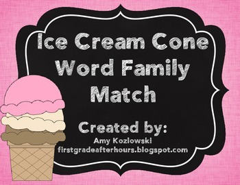 Ice Cream Cone Word Family Match