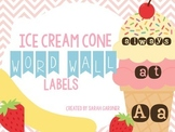 Ice Cream Cone Word Wall Labels