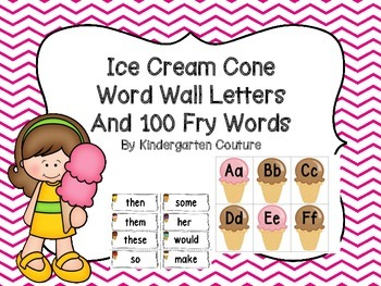 Ice Cream Cone Word Wall and 100 Fry words