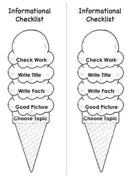 Ice Cream Cone Writing Checklists