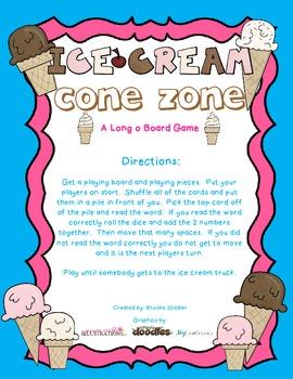 Ice Cream Cone Zone- A Long o (o_e)Board Game