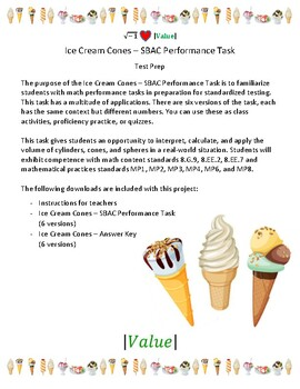 Ice Cream Cones - 8th Grade SBAC Math Performance Task