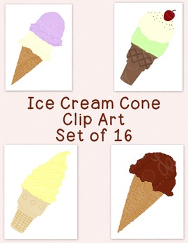 Ice Cream Cones Clip Art Bundle PNG JPG Blackline Commerci