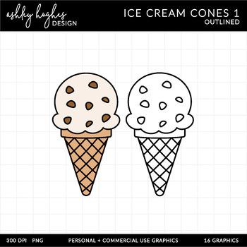 Ice Cream Cones Clipart {A Hughes Design}