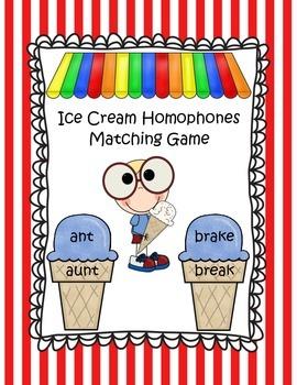 Ice Cream Cones Homophones Matching Game