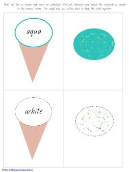 Ice Cream Cones Matching Sheets