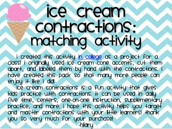 Ice Cream Contractions Matching Activity