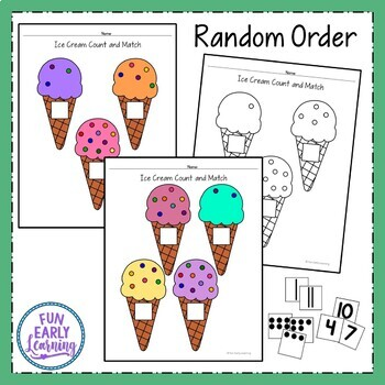 Ice Cream Count and Match - Hands-on Math Activity {Common Core}