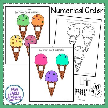 Ice Cream Count and Match - Math Center Activity