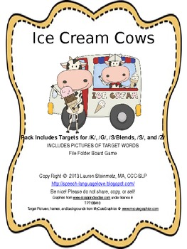Ice Cream Cows Articulation for K, G, S-blends, S, & Z