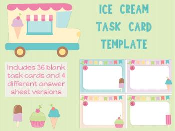 Ice Cream Cupcakes Blank Task Card Template