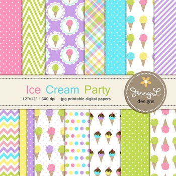 Ice Cream Digital Papers