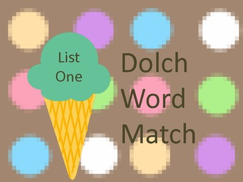 Ice Cream Dolch Matching List One