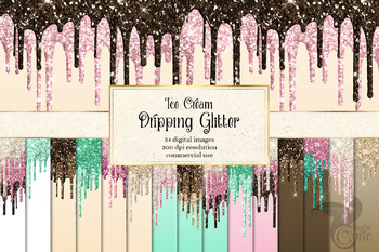 Ice Cream Dripping Glitter Digital Paper