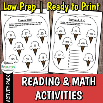 Ice Cream Early Childhood Math & Literacy Activities