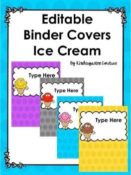 Ice Cream Editable Binder Covers
