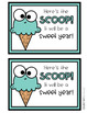 Back to School Editable Ice Cream Cards