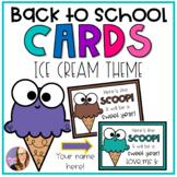 Back to School Editable Ice Cream Cards