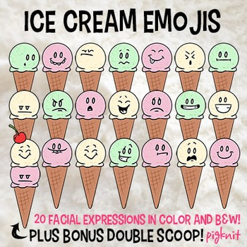Ice Cream Emoji Clip Art with BONUS Double Scoop! Facial Expressions | Emotions