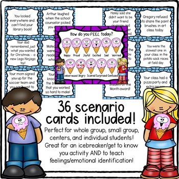 Ice Cream FEELINGS & EMOTIONS Scenarios Matching Game!