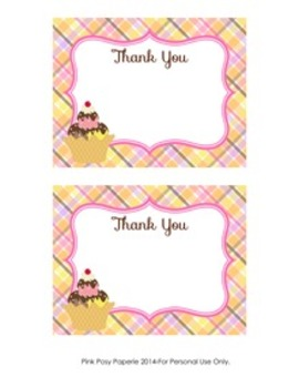 Ice Cream Flat Thank You Note Cards