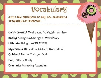 Ice Cream Flavor Generator - with Vocabulary and Art Activity