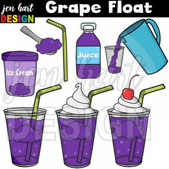 Ice Cream Float Clipart ~Grape (Classroom Snack Pack 7)
