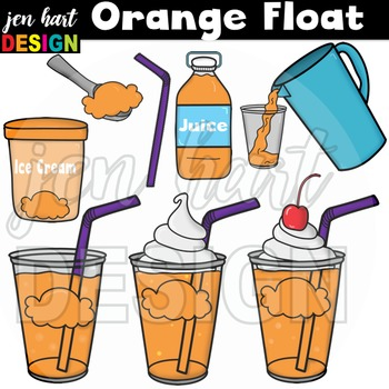 Ice Cream Float Clipart ~Orange (Classroom Snack Pack 3)