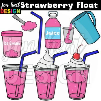Ice Cream Float Clipart ~Strawberry (Classroom Snack Pack 8)