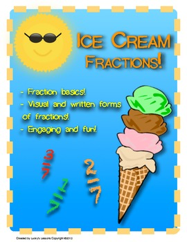 Ice Cream Fractions! Fraction skills activity - engaging - Ready to use