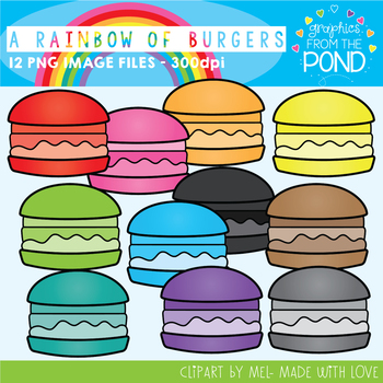 A Rainbow of Burgers Clipart Set