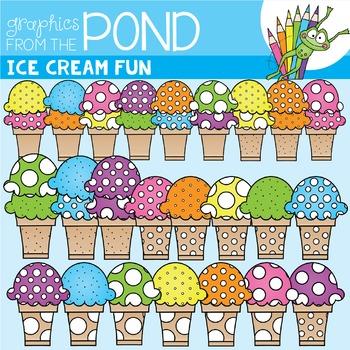 Ice Cream Fun Clipart {Polka Dot Ice Creams}
