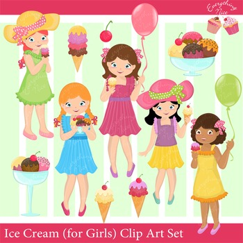 Ice Cream (Girls) Clipart Set