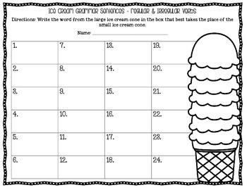 Ice Cream Grammar Sentences: Regular & Irregular Verbs