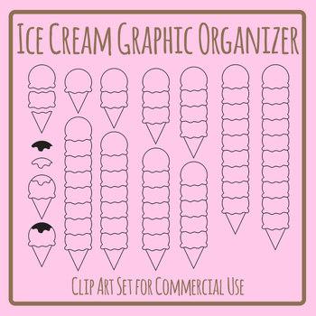 Ice Cream Graphic Organizer / Blank Treat Templates Clip Art Set Commercial Use