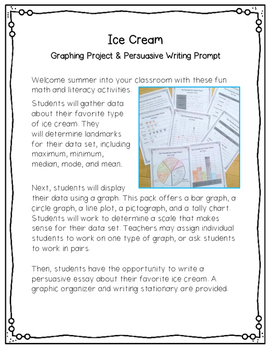 Ice Cream Graphing Projects & Writing Prompt