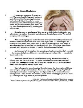 Ice Cream Headaches - Informational Text Test Prep