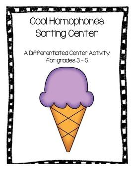 Ice Cream Homophone Matching Center - Differentiated - Grades 3 - 5