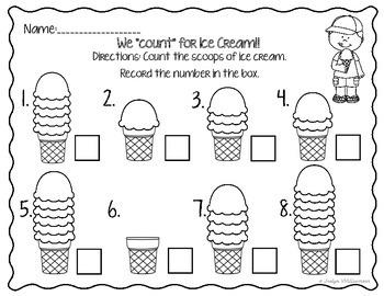 Ice Cream, Ice Cream, We all Scream for Ice Cream- Math Worksheet bundle