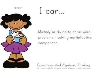 Ice Cream Kids Theme 4th grade math Common Core Posters fo