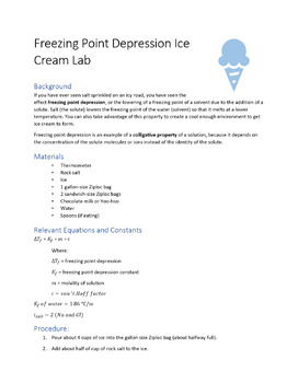 Ice Cream Lab - Freezing Point Depression