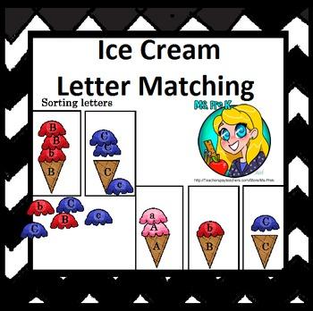 Preschool Ice Cream Letter File Folder Game