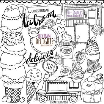 Ice Cream Line Art Illustrations, Summer Doodle ClipArt