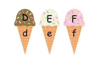 Ice Cream Literacy Center - Upper and Lowercase Letter Matching