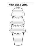 Ice Cream Main Idea and Detail Graphic Organizer
