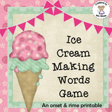 Word Families - Ice Cream Making Words Game