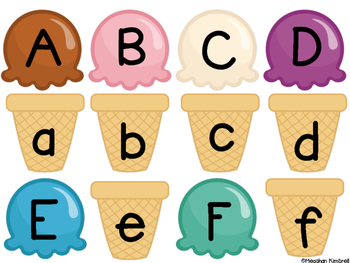 Ice Cream Match {ABC, Numbers and Initial Sounds}