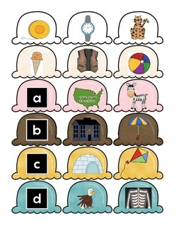 Ice Cream Match Up Numerical/Alphabetical Order Letter Sounds Benchmark Literacy